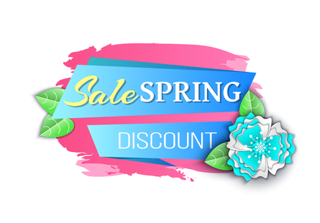 Big spring discount reduced price seasonal offer vector. Banner with decoration, summer flowers decor, petals and foliage origami and brush style, text