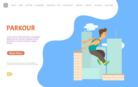 Guy jumping over wall, parkour extreme sport vector. Outdoor physical activity, city skyscrapers roofs, athlete or sportsman, adrenaline and risk. Website or webpage template, landing page flat style Çizim