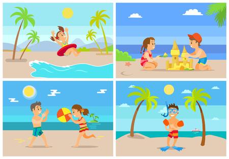 Dzieci na letnie wakacje wektor, dziewczyna w koło ratunkowe, chłopiec ubrany w specjalny sprzęt do nurkowania z rurką. Brat i siostra grają w piłkę budując zamek