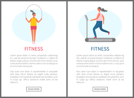 Fitness webpage decorated by girl with jump rope, and running woman on treadmill, cardio training, strong people lose weight, website of sport vector