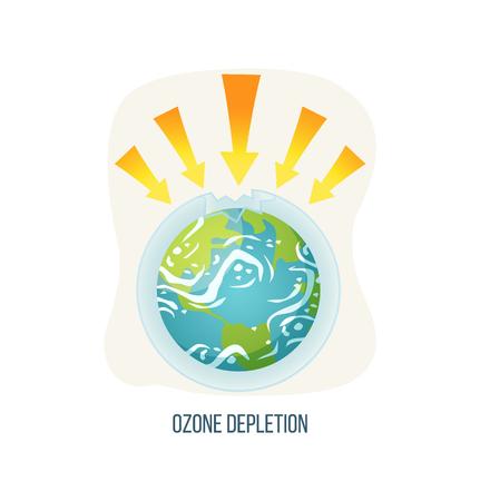 Ozonabbauvektor, ökologische Probleme auf dem Planeten isoliertes Symbol, Poster mit Aufschrift, Erde mit Pfeilspitzen und gebrochene Schichtprobleme und Gefahr. Konzept zum Tag der Erde