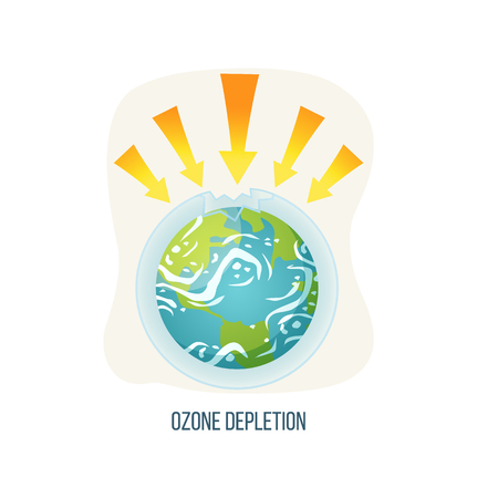 Ozone depletion vector, ecological problems on planet isolated icon, poster with inscription, earth with arrowheads and broken layer issues and danger. Earth day concept 写真素材 - 123084548