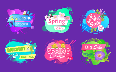 Advertising geometric label decorated by butterfly and flowers lilac and chamomile, spring sale and discount offer promo isolated on purple vector Archivio Fotografico - 123084549