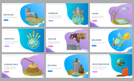 Overpopulation and acid rains vector, heat and global warming destruction of forests deforestation and waste disposal planet with skyscrapers. Website or landing page flat style. Concept for Earth day