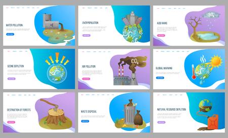 Vector de superpoblación y lluvias ácidas, calor y calentamiento global, destrucción de bosques, deforestación y eliminación de desechos, planeta con rascacielos. Estilo plano de sitio web o página de destino. Concepto para el día de la tierra
