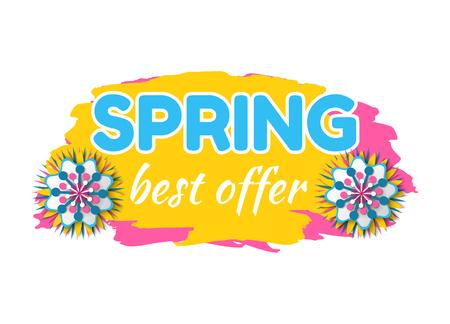 Frühlingsverkauf-Bannervektor, isolierte Blumen und Pinselfarbe mit Text, Rabatt und Abfertigung für Kunden, Preissenkung, Ausverkauf des Produkts