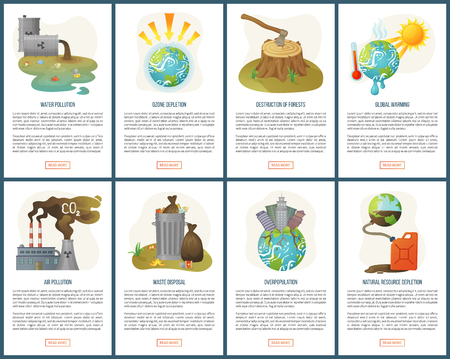 Destruction of forests vector deforestation and global warming melting planet earth, waste disposal, ozone depletion and garbage heat set. Website or webpage template flat style. Concept for Earth day