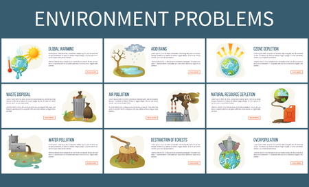 Environmental problems vector, ozone depletion and deforestation, water and air pollution, global warming and waste disposal, acid rains set of webpages. Concept for Earth day