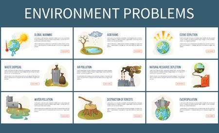 Vettore di problemi ambientali, impoverimento e deforestazione dell'ozono, inquinamento dell'acqua e dell'aria, riscaldamento globale e smaltimento dei rifiuti, piogge acide insieme di pagine web. Concetto per la Giornata della Terra Vettoriali