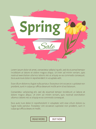 Spring sale webpage decorated by yellow daisies, shopping online. Website with links buy and read now, springtime prices, label with blossom vector Illustration