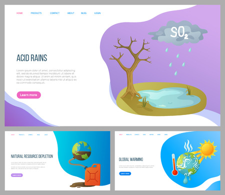Acid rain, natural resource depletion, global warming set. Cataclysm and pollution planet, atmosphere and water hot weather empty soil vector. Website or landing page flat style. Concept for Earth day Illustration
