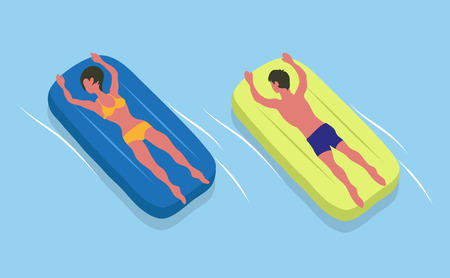 People suntanning on mattresses, male and female characters in swimsuits. Vector girl and boy and inflatable means helping to swim in sea or oceans