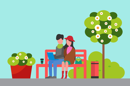 City park, couple sitting on bench with laptop vector. Man and woman, coffee cup and garbage bin, tree and bush with blossom, recreation and nature Illustration