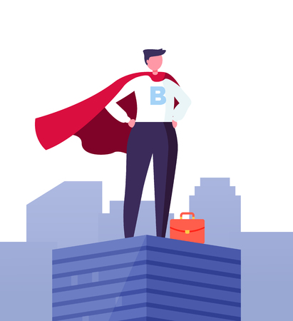Big Boss on top, motivation and ambition concept, ceo manager confident employer in suit. Vector superbusinessman, worker in superhero cloak on top of building