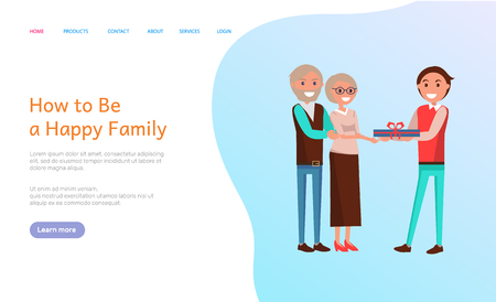 How to be happy family, birthday celebration vector web page. Elderly people holding present, grown up son of senior couple greeting with special event