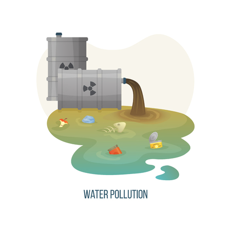 Water pollution vector, polluted liquid of dirty color with garbage and litter, organic waste apple , metal can and jar floating in river environmental. Concept for Earth day