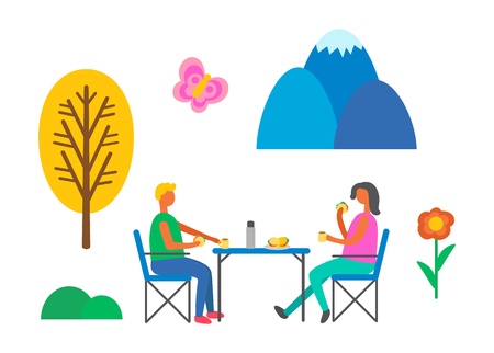 People having picnic vector, man and woman eating fast food on nature. Burgers and tea hot beverage, trees and flowers, summer butterfly and bushes Illustration