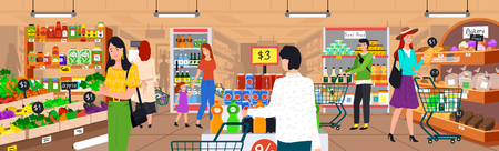 Supermarket interior vector, vegetables and bakery store, veggie and sweets hypermarket with products, grocery. Man with shopping cart trolley purchase Illustration