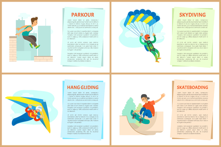 Skateboarding vector, paragliding and hang gliding, skydiving and parkour, poster with text sample. Extreme hobby of people, skydiver and skateboarder Иллюстрация