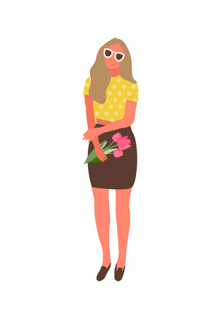 Smiling female in sunglasses isolated girl with flowers. Vector cartoon character with bouquet of spring blossoms, elegant lady celebrate 8 March or birthday Banque d'images - 121488911