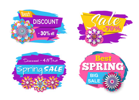 Spring sale and promotion vector, banners with stripes and flowers decoration, offers and discounts of shops and stores, retailing and shopping set 일러스트