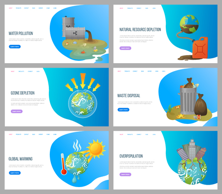 Wektor globalnego ocieplenia, problemy środowiskowe i zubożenie warstwy ozonowej, problemy z roślinami, przeludnienie i utylizacja odpadów, puszki ze śmieciami. Płaski styl strony docelowej strony internetowej. Koncepcja na Dzień Ziemi