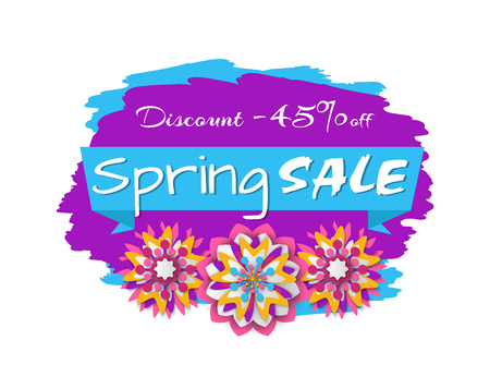 Spring sale purple label decorated by peony paper cut or flower origami, 45 percent discount promotion or offer with floral elements, shopping vector 向量圖像