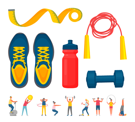 Colección de ropa deportiva y actividad de personas, zapatillas azules y mancuernas, botella roja para agua, saltar la cuerda y la ruleta, entrenar a hombres y mujeres. Ilustración de vector