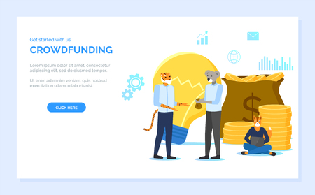 Crowdfunding vector, partners making deal, hipster animals with lightbulb symbolizing idea and mag with money dollar gold coins, coder with laptop. Website or webpage template, landing page flat style