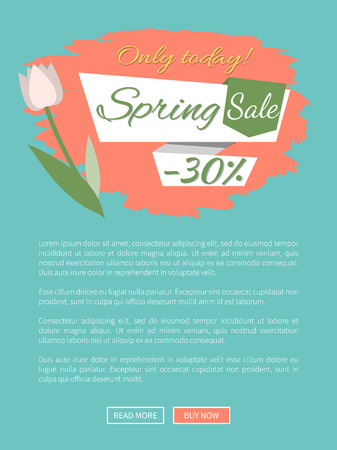 Spring sale, discount 30 percent off, webpage decorated by white tulip, shopping online. Website with springtime prices vector, cost off on new collection Illustration