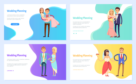 Wedding planning, happy couple man and woman holding together, bride with bouquet and groom in suit, romantic holiday of people, nuptials vector. Website or webpage template, landing page flat style