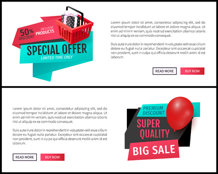 Special offer promo posters with half price discounts. Advertisement labels on web site pages. Vector gift boxes and balloon on tags, shopping cart