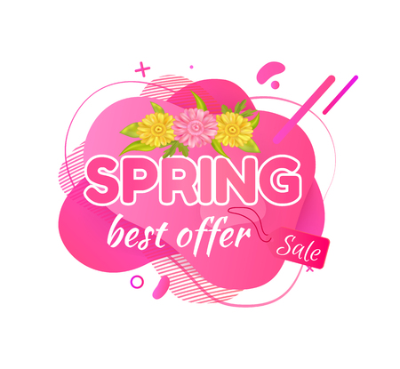 Spring best offer vector, floral decoration on banner with text and flowers, petals and summer floral, foliage and clearance, promotion campaign set 向量圖像