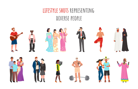 Lifestyle shots representing diverse people vector, man and woman wearing traditional clothes and elements of ethnic community, arabs and mexicans