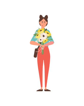 International womens day celebration vector, woman standing with floral bouquet. Flower composition, daisy in tied together, happy girl isolated
