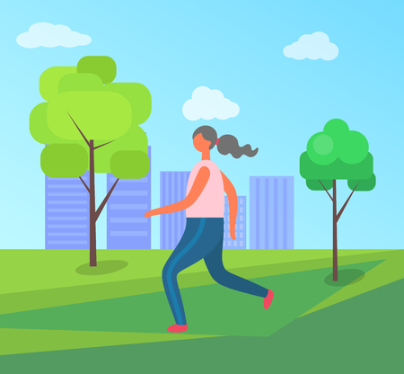 Fitness and sport, morning jogging in park vector. Woman running on grass among trees with skyscrapers on horizon, daily workout and healthy lifestyle