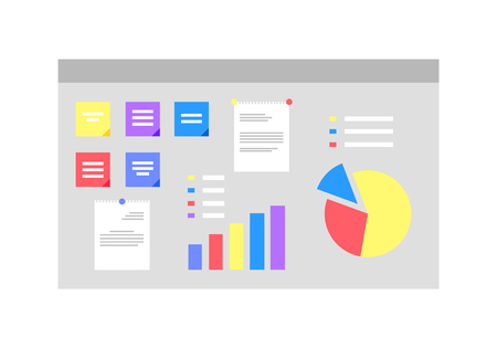 Infocharts and representation on board vector, isolated whiteboard with info for presentation flat style, statistics and layout analysis of project