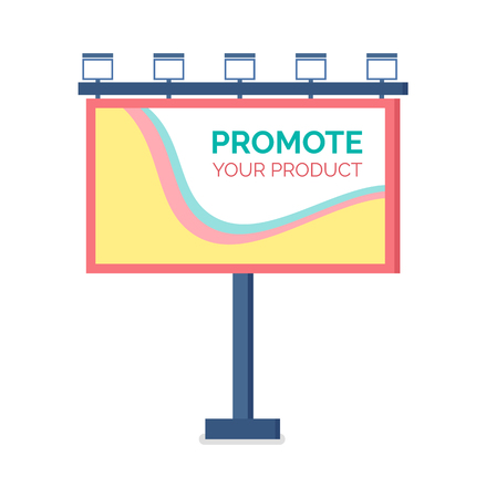 Billboard flat design, modern business concept for promoting product. Template for outdoor advertising, colorful large reclame, standing publicity vector Vector Illustratie