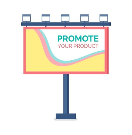 Billboard plat ontwerp, modern bedrijfsconcept voor het promoten van product. Sjabloon voor buitenreclame, kleurrijke grote reclame, staande publiciteit vector Vector Illustratie