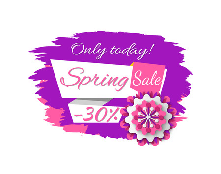 Only today spring sale, limited promotion 30 percent, purple poster decorated by flower origami, discount offer with blossom, shopping label vector
