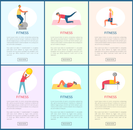 Fitness websites with information vector, woman and man leading active lifestyle. Weightlifters with barbell and dumbbells, bicycle machine and ball Иллюстрация