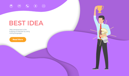 Best idea web page template man with trophy cup and light bulb in hands. Manager has good solution of problem at work, online page site interface vector Çizim