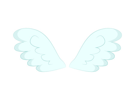 Valentines day or Christmas decor, angel wings of white feather vector. Flight and cupid or butterfly accessory, holy spirit, fantastic or mythical creature detail Imagens - 123084579