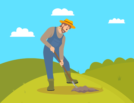 Farming man cultivating field on hill. Farmer working on land with shovel spade digging ground. Agricultural occupation and husbandry tool vector