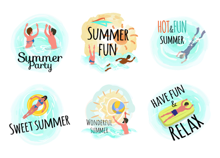 Sweet summer hot and fun vector, man laying on mattress and woman on lifebuoy. Male scuba diving, people swimming in water, person with ball waterpolo