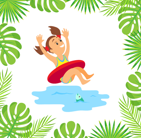 Kid having fun on summer vacation vector, child wearing lifebuoy and going down water splashes. Monstera and palm tree leaves foliage decoration frame