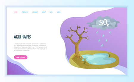 Acid rains, environmental pollution, cloud with SO2 water on ground, dried tree. Ecological catastrophe, global problem of planet, danger vector. Website landing page flat style. Concept for Earth day Ilustrace