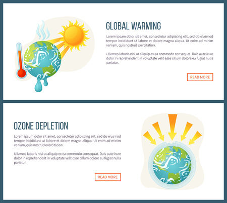 Global warming vector, environmental problems and issues on planet, sunshine and thermometer, ozone depletion, heat and arrows attack set. Website landing page flat style. Concept for Earth day Иллюстрация