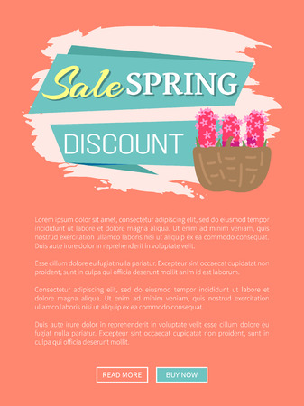 Spring sale and discount advertisement webpage decorated by basket of lilacs, website with links and natural decoration, springtime symbol vector Ilustracja