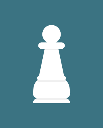 Chess piece pawn, white figure isolated on blue. Vector checkmate item, chessboard game element in flat design cartoon style. Strategic sportive play